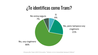 Sí 6%, No, pero tampoco soy cisgénero 21%, No, soy cisgénero 66%, No estoy segure 7%